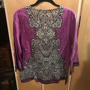 OSO CASUALS Tops - OSO CASUALS New Womans Top Purple White Black Sz M